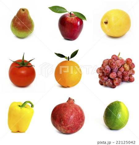 Fruits and vegetables isolated on white backgroundの写真素材 [22125042] - PIXTA