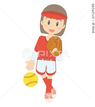 ソフトボール 女子 イラストのイラスト素材 22126299 Pixta