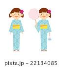 女 子供 全身 浴衣 祭り イラスト 22134085