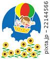 夏 気球で空の旅を楽しむ白猫と女性 22144566