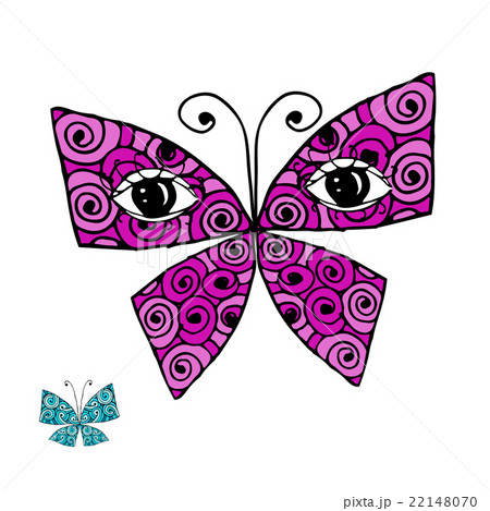Colorful butterfly with eyes for your designのイラスト素材 [22148070] - PIXTA