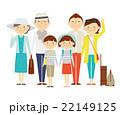 家族旅行 全身 三世代 イラスト イラスト 22149125