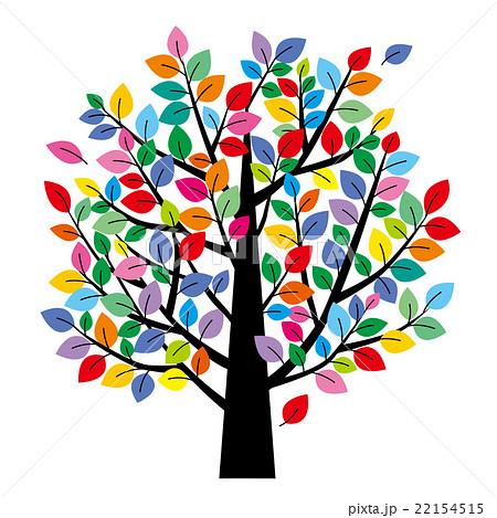 カラフルな葉の木のイラスト素材 22154515 pixta