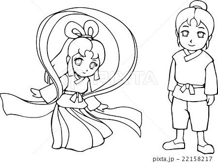 七夕 織姫と彦星 塗り絵のイラスト素材 22158217 Pixta
