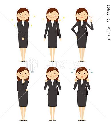 スーツ ビジネス 女性 全身 バリエーション イラスト 22165997