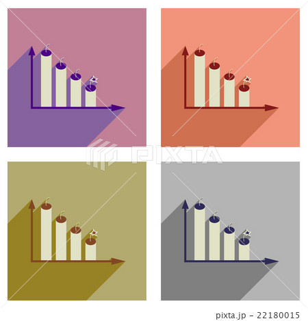 Concept of flat icons with long shadow graph のイラスト素材 [22180015] - PIXTA