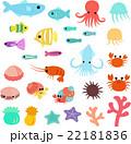 海の生き物のポップイラストセット 22181836