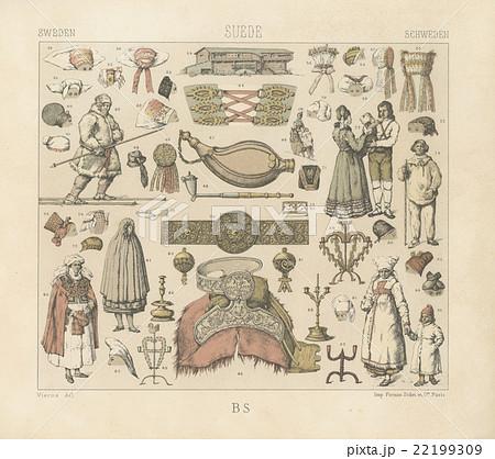 19世紀アンティーク・イラスト A.ラシネ「スウェーデンの服飾品」の ...