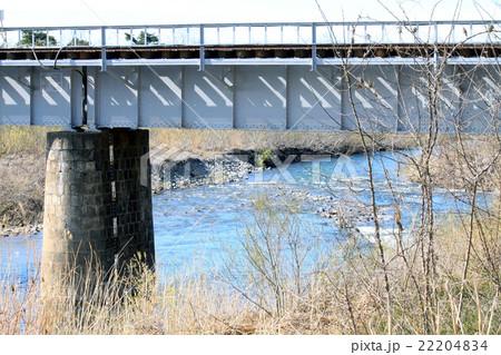 早春の最上川源流と鉄橋 22204834