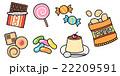 お菓子のイラスト セット素材 チョコ・クッキー・キャンディ・ポテチ・プリン 白背景・背景透過png 22209591