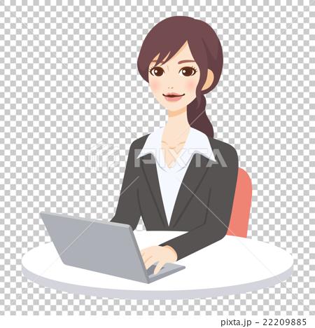 若い女性 PC 仕事 22209885