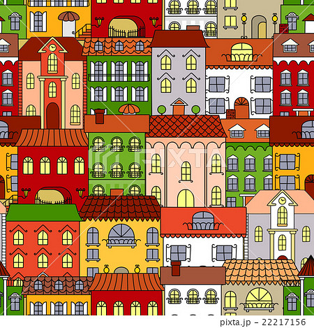 Retro seamless houses of old town streets patternのイラスト素材 [22217156] - PIXTA