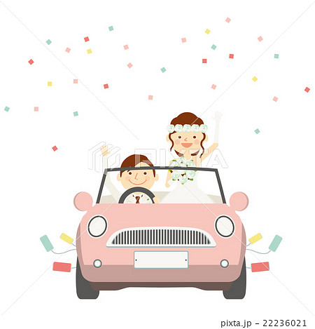 結婚式 新郎新婦 ウエディングカー イラストのイラスト素材