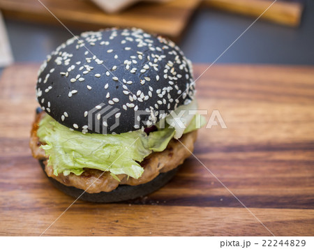 Black burger with Spicy sauce 22244829