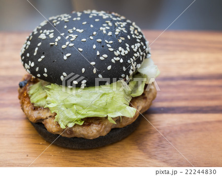 Black burger with Spicy sauce 22244830