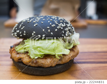 Black burger with Spicy sauce 22244831