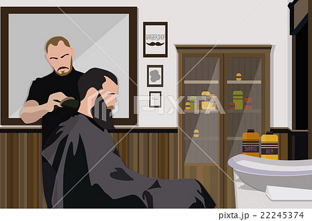 Client visiting hairstylist in barber shop 22245374