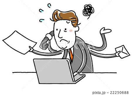 イラスト素材:中年ビジネスマン 忙しい パソコン 22250688