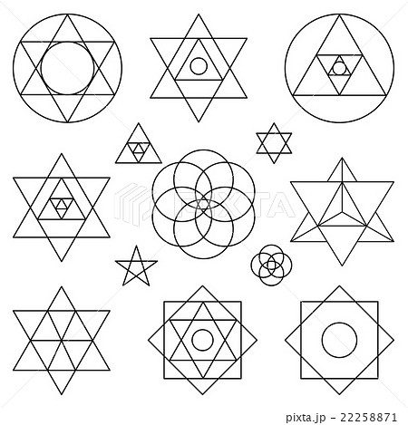 sacred geometry symbols elements black outlineのイラスト素材