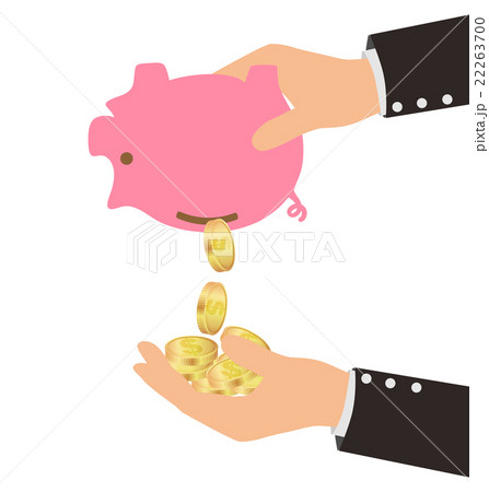Gold Coins Falling From Piggy Bank to Man's Hand 22263700