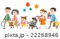 3世代家族(祖父母、父母、姉弟)(ショッピング1) 22268946