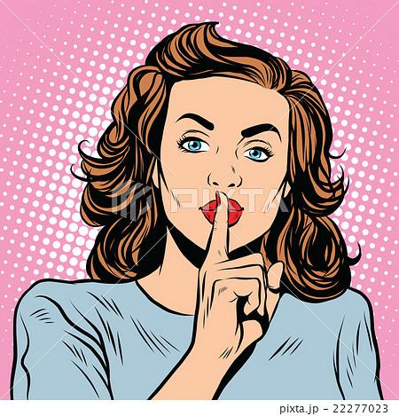 Female gesture of silence 22277023