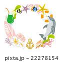 夏 飾り 円形フレーム イルカ 22278154
