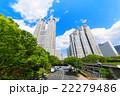 ビル 高層ビル 街路樹の写真 22279486