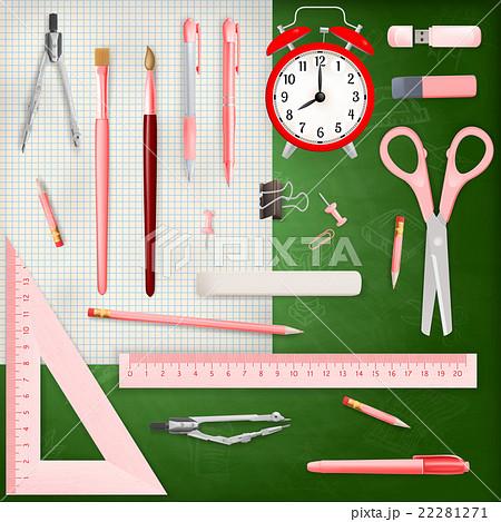 Set of Colored school supplies background. EPS 10のイラスト素材 [22281271] - PIXTA