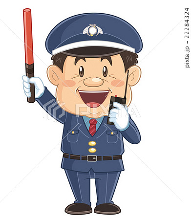 誘導棒で交通整理をしている警備員のコミカルでかわいい人物イラスト | いわたまさよし 22284324