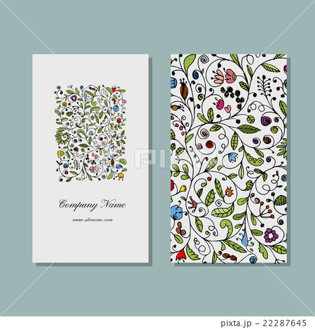 Business cards collection, floral designのイラスト素材 [22287645] - PIXTA