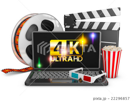 4K laptop, popcorn and film strip 22296857
