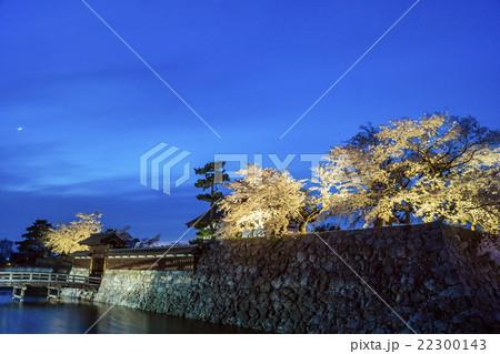 信州 長野市松代 松代城(海津城)のライトアップと月 22300143