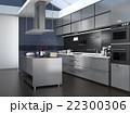 インテリア 台所 アイランドキッチンのイラスト 22300306