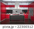 インテリア 台所 アイランドキッチンのイラスト 22300312