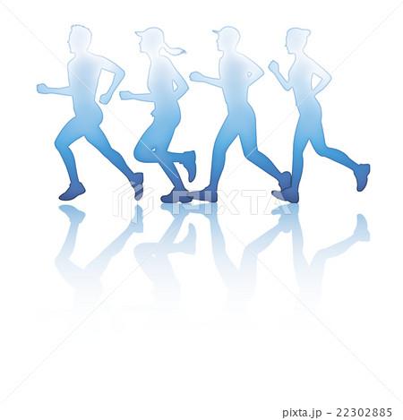 マラソンシルエットのイラスト素材 22302885 Pixta