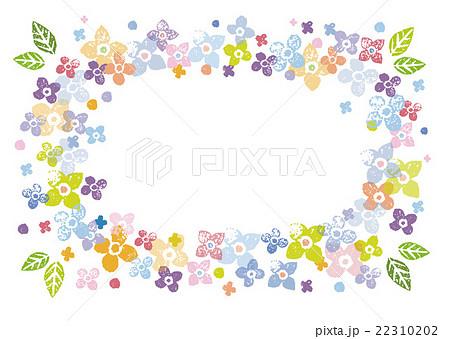 カラフルな花の飾り枠イラストのイラスト素材 22310202 Pixta