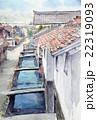 倉吉の赤瓦の町 スケッチ画 22319093
