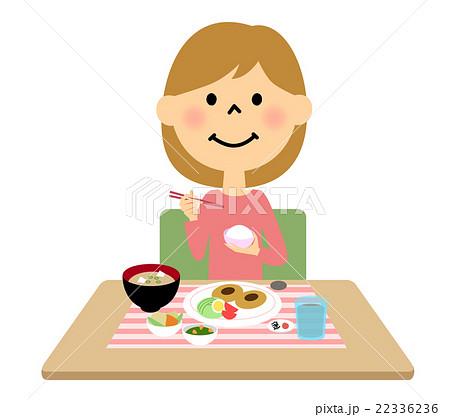 ご飯を食べる女の子のイラスト素材 22336236 Pixta