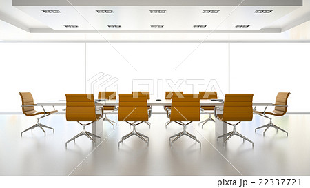 Interior of boardroom with orange armchairs  22337721