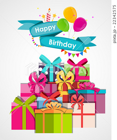 happy birthday card template with balloons vectorのイラスト素材