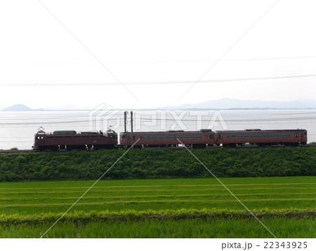 キハ40系 配給輸送 蓬莱-志賀 琵琶湖バック 22343925