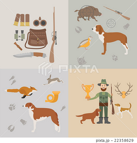Hunting icon set. Dog hunting, equipment 22358629