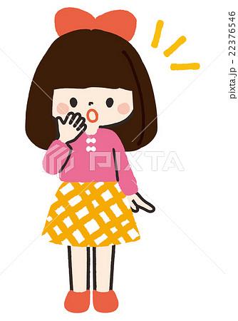 女の子立ちポーズ驚くのイラスト素材 22376546 Pixta