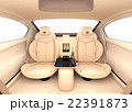 自動運転車のインテリアイメージ。上質なインテリアに回転可能なシートでくつろぎ空間を作る 22391873