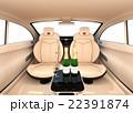自動運転車のインテリアイメージ。上質なインテリアに回転可能なシートでくつろぎ空間を作る 22391874