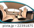 自動運転車のインテリアイメージ。上質なインテリアに回転可能なシートでくつろぎ空間を作る 22391875