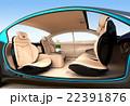 自動運転車のインテリアイメージ。上質なインテリアに回転可能なシートでくつろぎ空間を作る 22391876