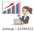 グラフ 女性 ビジネスウーマンのイラスト 22396453