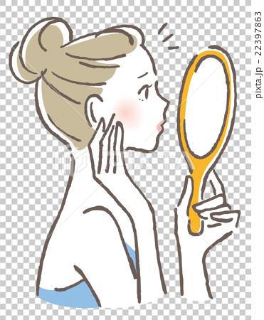 手鏡 チェック 女性 22397863